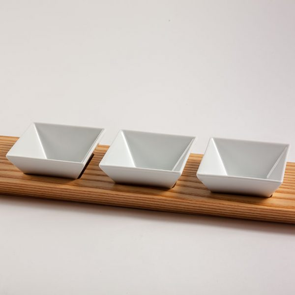 restaurant appetizer serving trays in wood