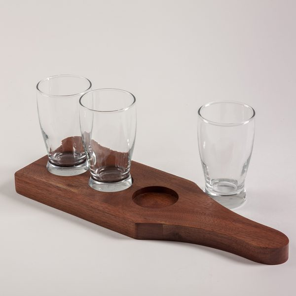personalized beer flight set shown with empty glasses