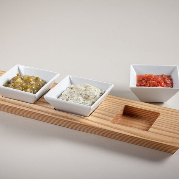 wood restaurant food trays with ramekin inserts