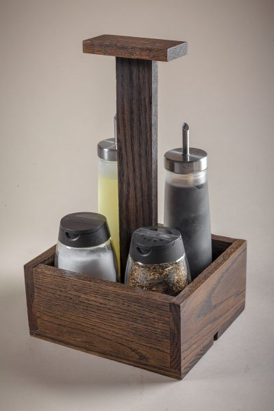 wood condiment caddy