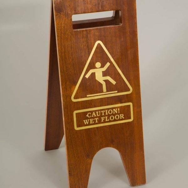wood wet floor sign