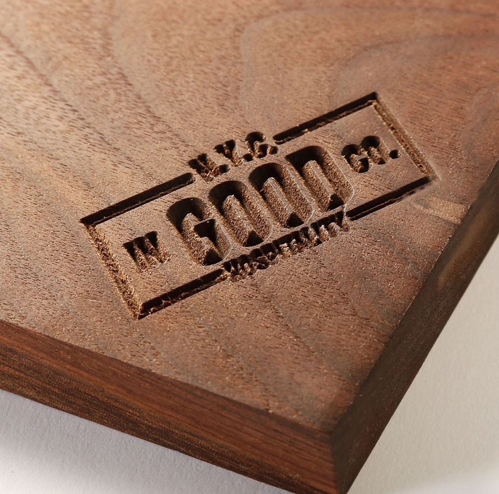 engraved serving tray for company branding culinary wood designs